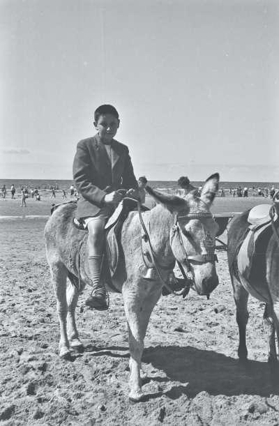 Blackpool beach, boy on donkey