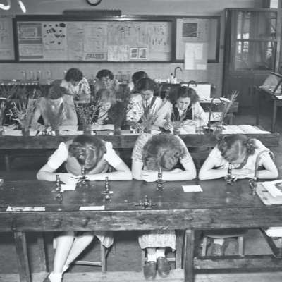 Broughton Modern Secondary School, science laboratory.