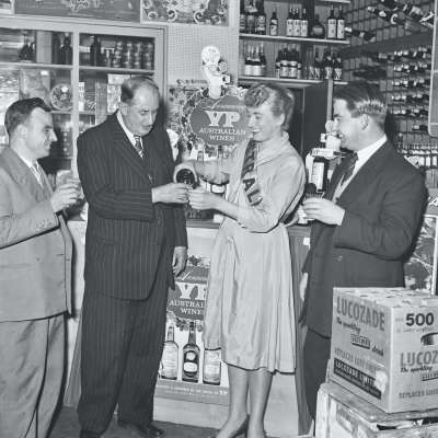 Interior of shop with group portrait