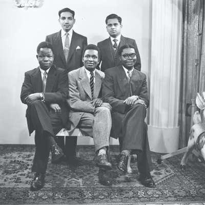 Group portrait of man