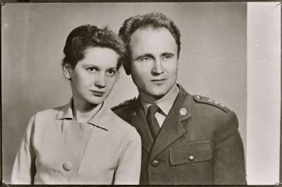 Portrait of a soldier and woman