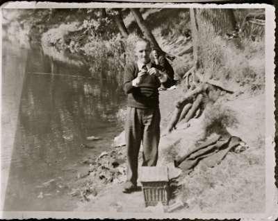 Portrait of a man fishing