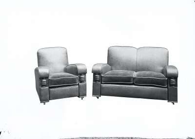 Settee and Armchair Suite with Carved Detail, Edited/Masked