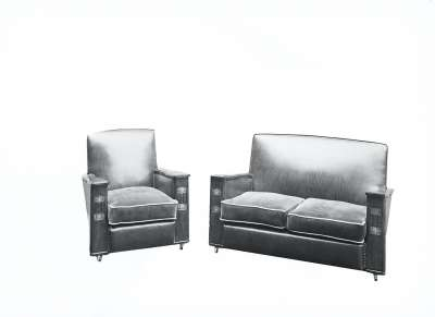 Settee and Armchair Suite with Wooden Arms, Edited/Masked
