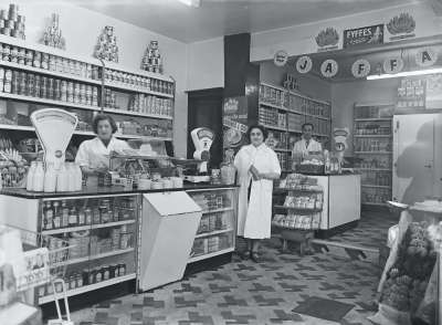 Shop interior with counter