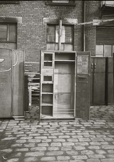 Wardrobes outside factory
