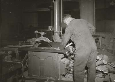 Man at woodworking machine