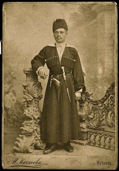 Portrait of man in Georgian military dress