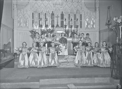 Group portrait in church