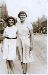 Sylvia Hardman and Mamie Glasburg, Cheetham Hill Road, nr St Chads,1932